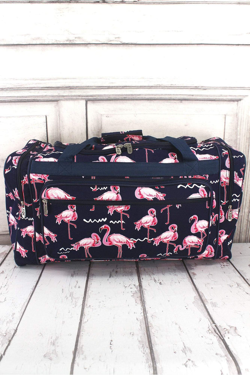 NGIL Flamingo Party Duffle Bag with Navy Trim 23""