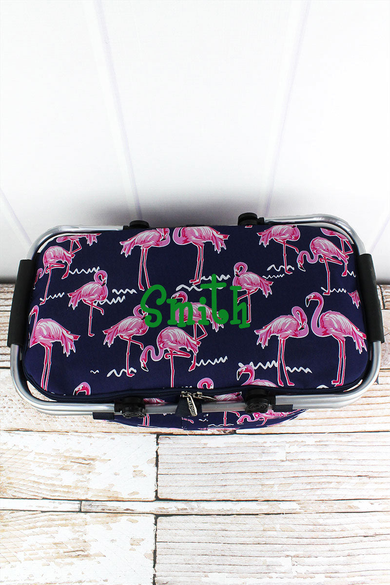 NGIL Flamingo Party Collapsible Insulated Market Basket with Lid