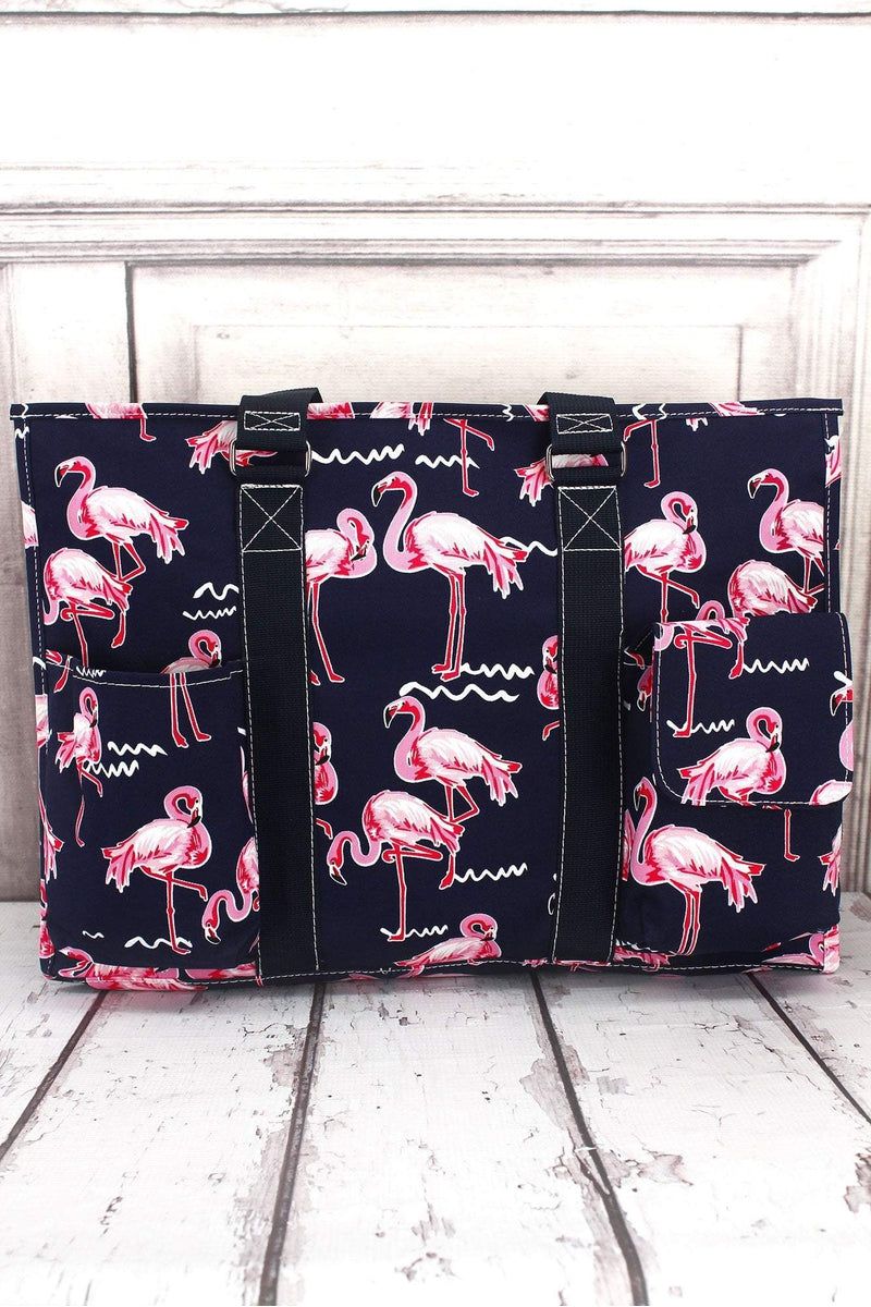 NGIL Flamingo Party with Navy Trim Large Organizer Tote