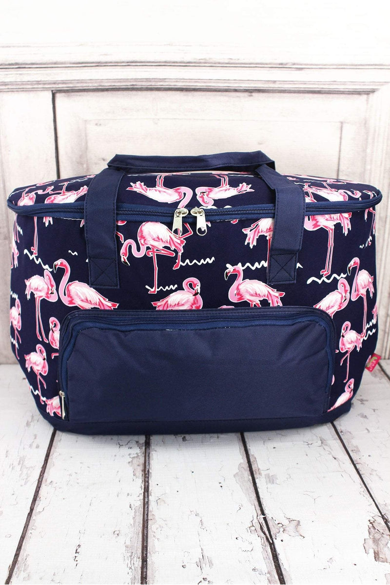 NGIL Flamingo Party and Navy Cooler Tote with Lid