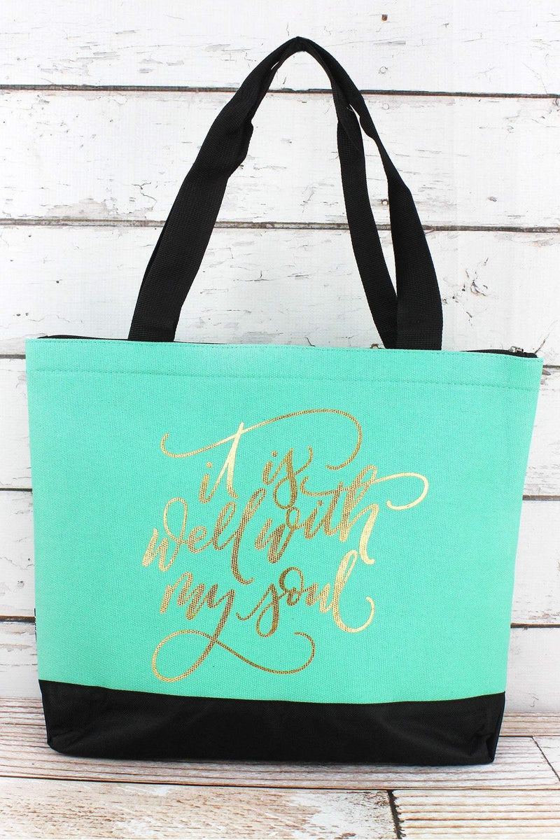 NGIL Metallic Gold 'It Is Well With My Soul' Mint Tote Bag