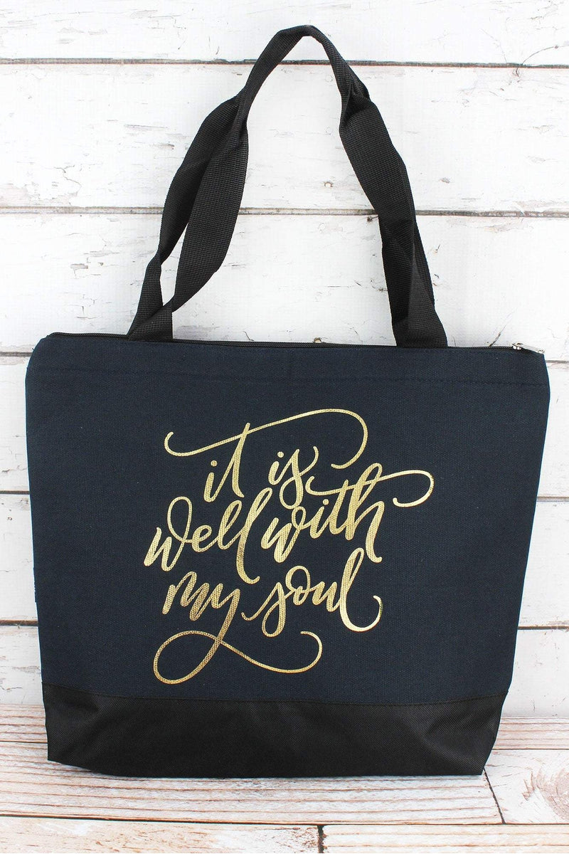 NGIL Metallic Gold 'It Is Well With My Soul' Navy Tote Bag