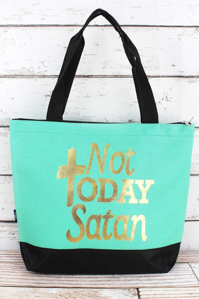 NGIL Metallic Gold 'Not Today Satan' Mint Tote Bag