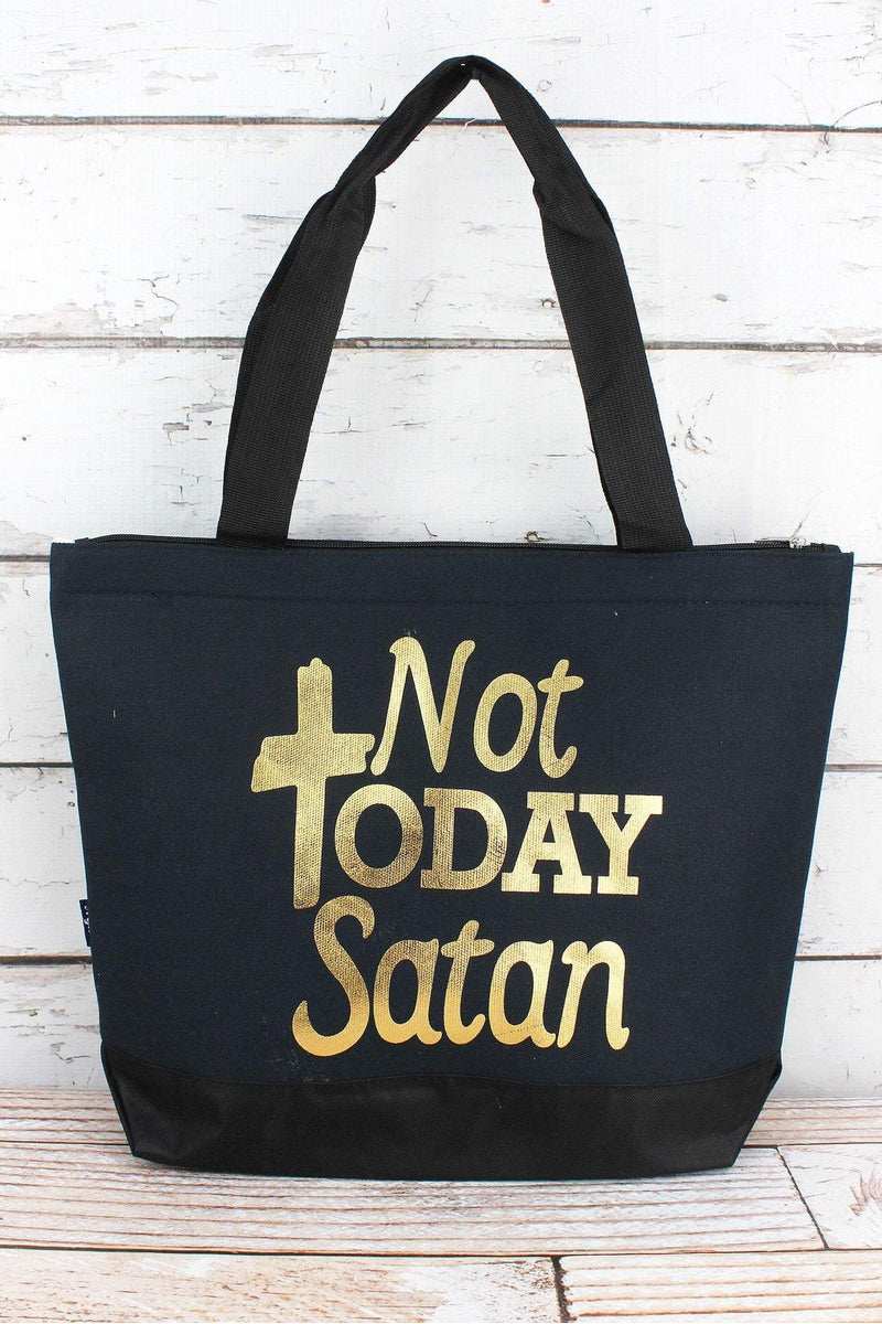 NGIL Metallic Gold 'Not Today Satan' Navy Tote Bag