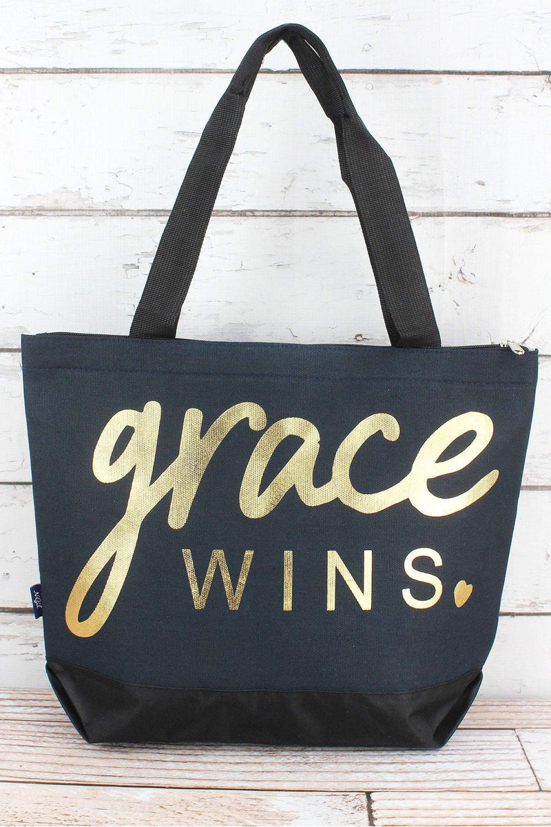NGIL Metallic Gold 'Grace Wins' Navy Tote Bag