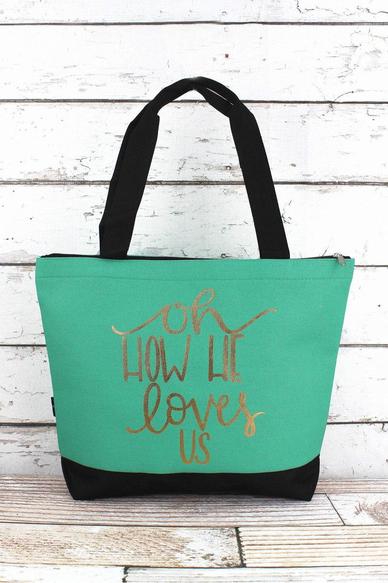 NGIL Metallic Gold 'Oh How He Loves Us' Mint Tote Bag