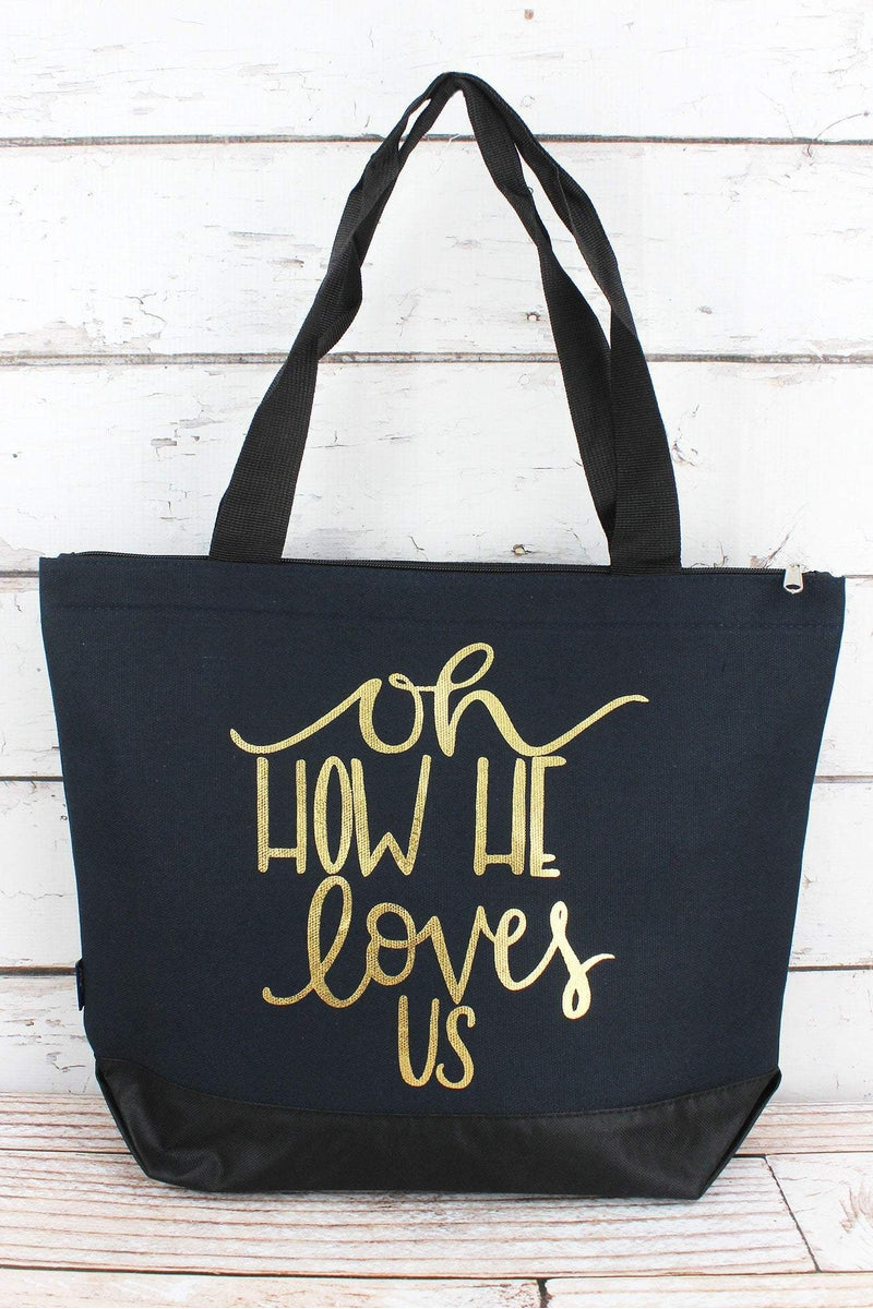 NGIL Metallic Gold 'Oh How He Loves Us' Navy Tote Bag