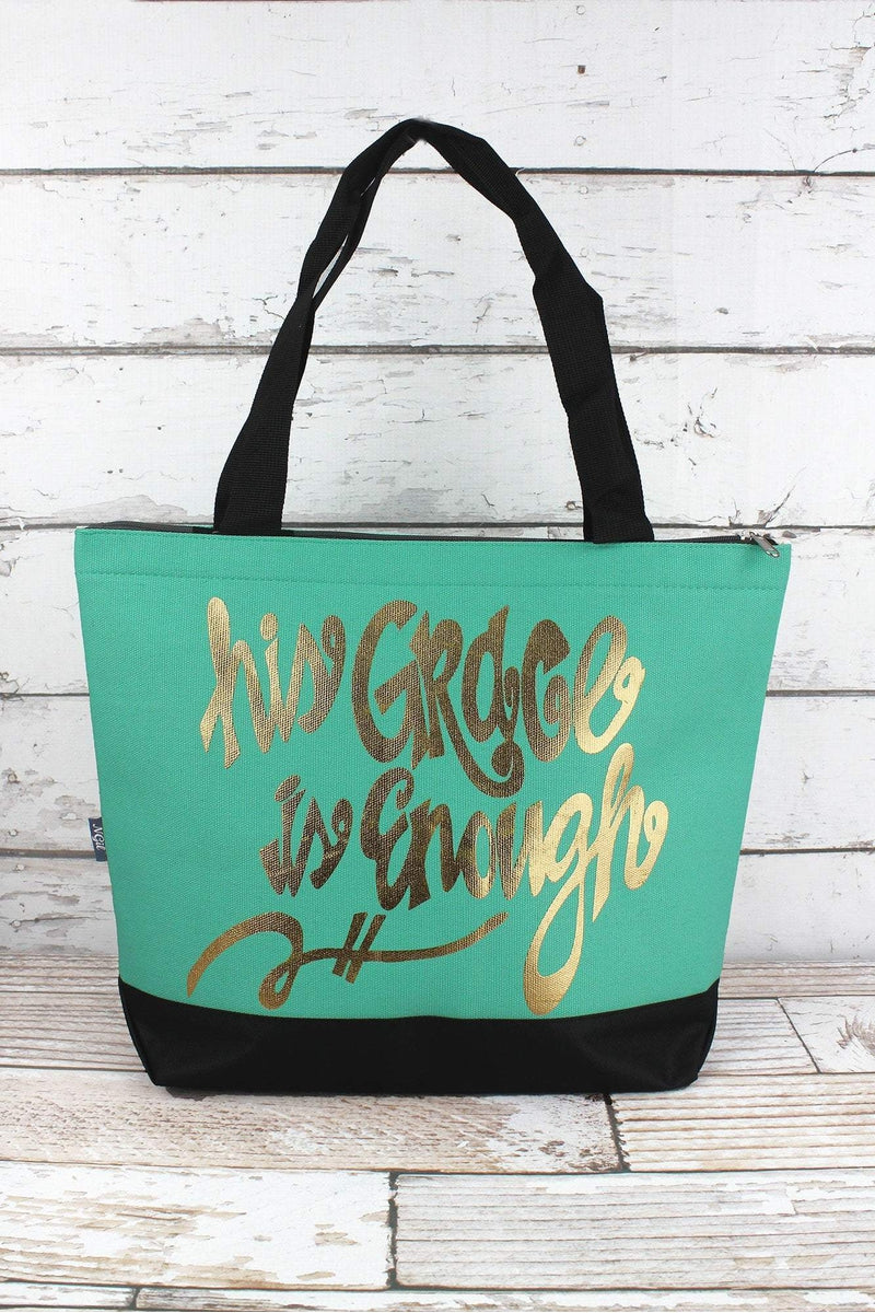 NGIL Metallic Gold 'His Grace Is Enough' Mint Tote Bag