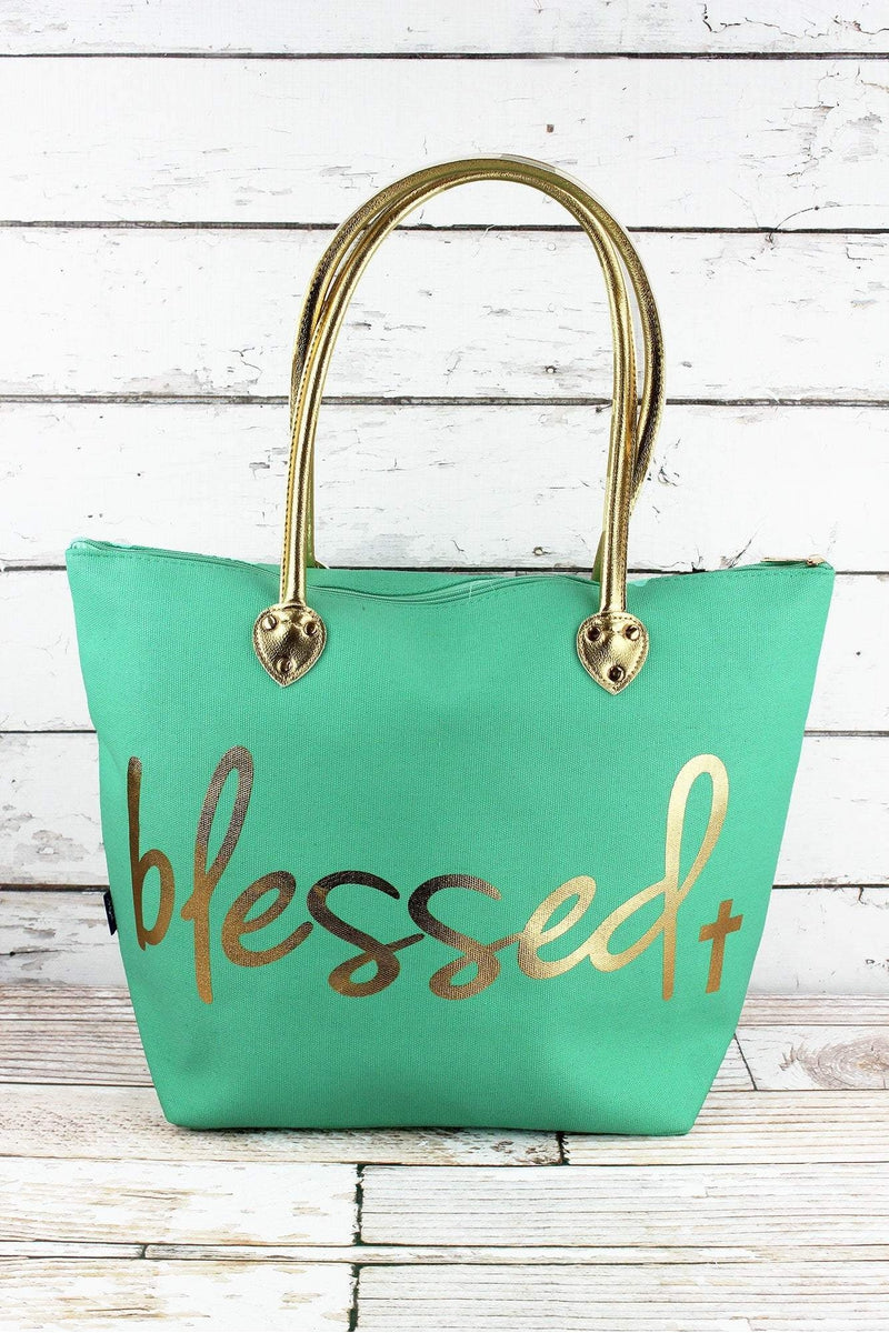 NGIL Metallic Gold 'Blessed' Mint Shoulder Tote