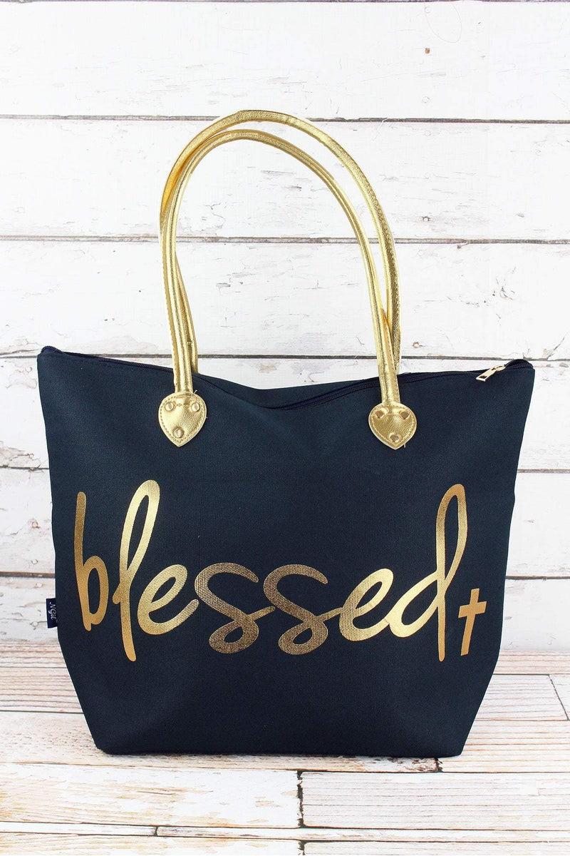 NGIL Metallic Gold 'Blessed' Navy Shoulder Tote