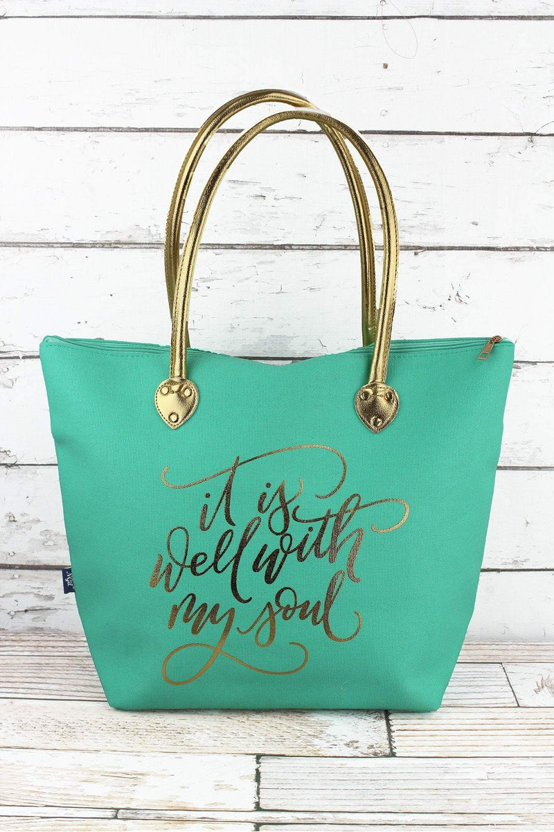 NGIL Metallic Gold 'It Is Well With My Soul' Mint Shoulder Tote