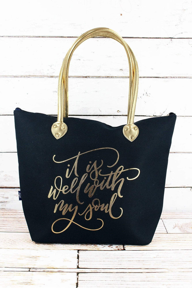 NGIL Metallic Gold 'It Is Well With My Soul' Navy Shoulder Tote