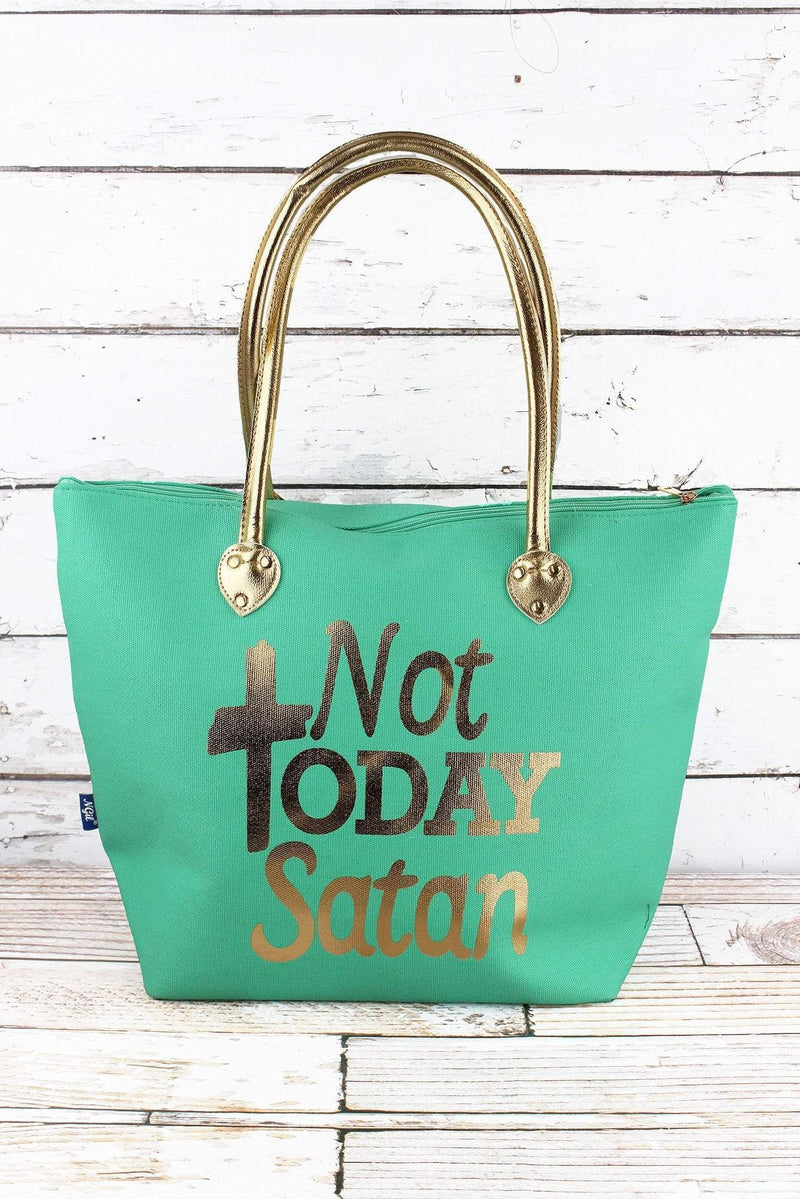 NGIL Metallic Gold 'Not Today Satan' Mint Shoulder Tote