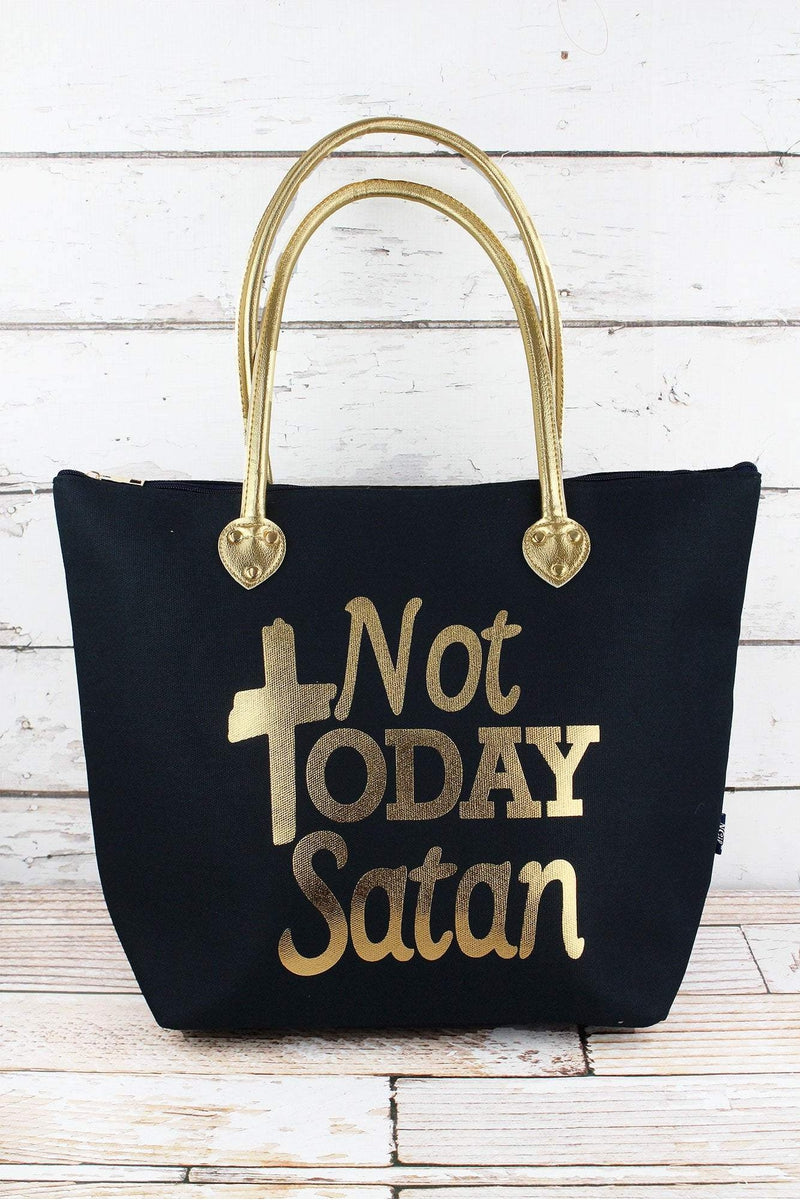 NGIL Metallic Gold 'Not Today Satan' Navy Shoulder Tote