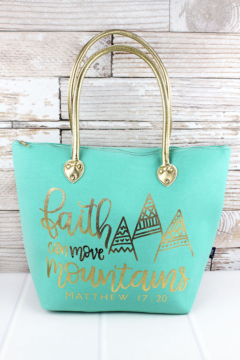 NGIL Metallic Gold 'Faith Can Move Mountains' Mint Shoulder Tote