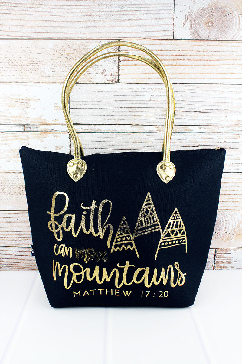 NGIL Metallic Gold 'Faith Can Move Mountains' Navy Shoulder Tote