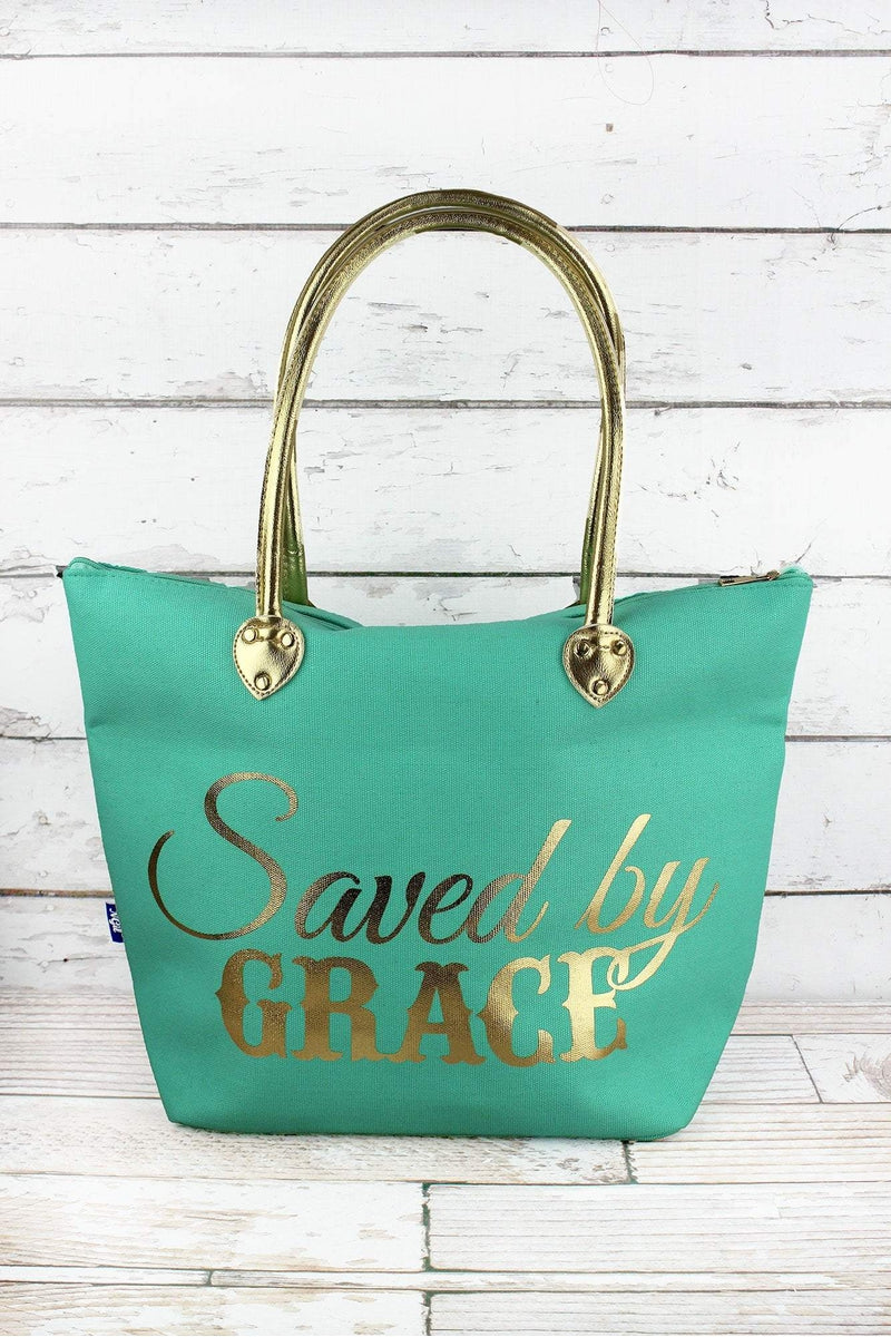 NGIL Metallic Gold 'Saved By Grace' Mint Shoulder Tote