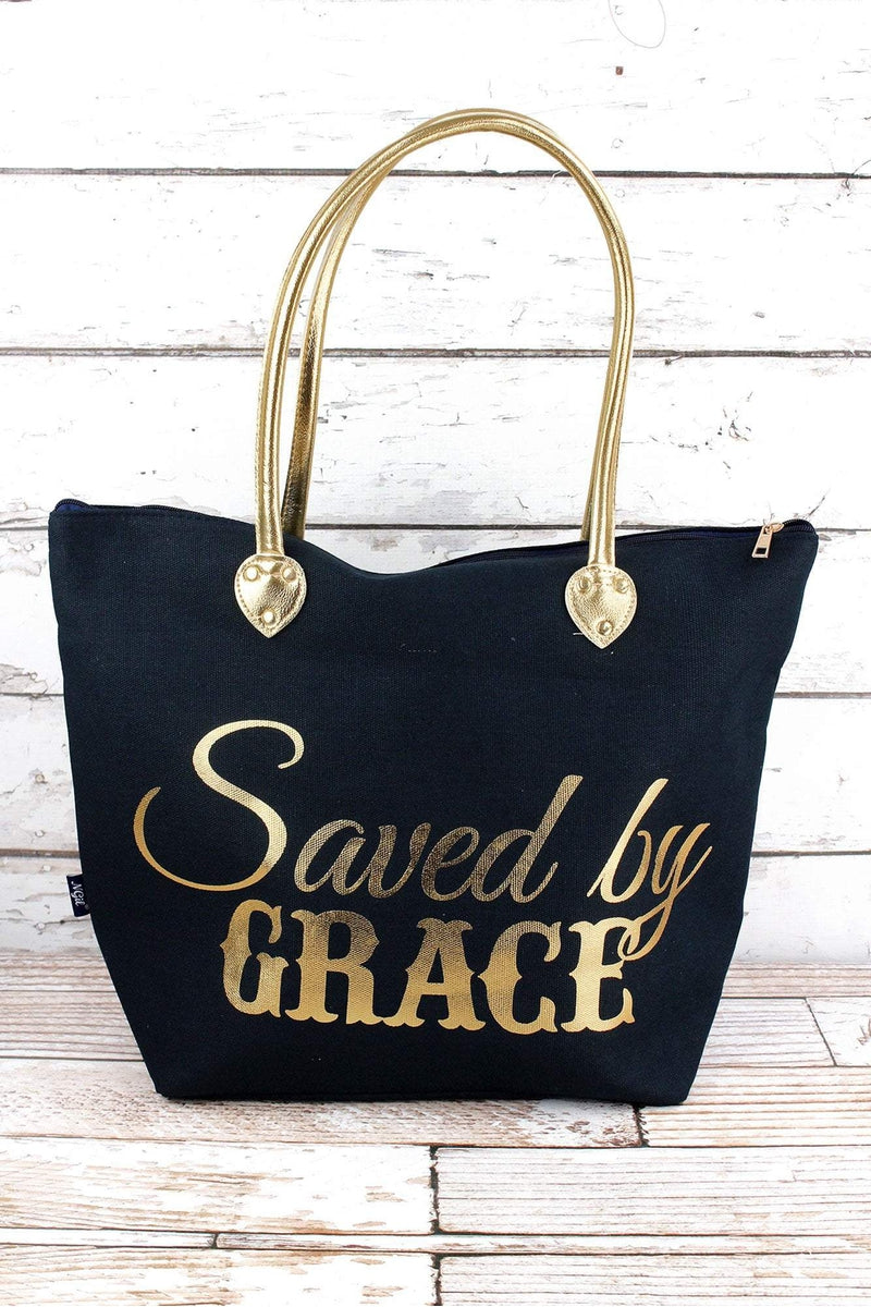 NGIL Metallic Gold 'Saved By Grace' Navy Shoulder Tote