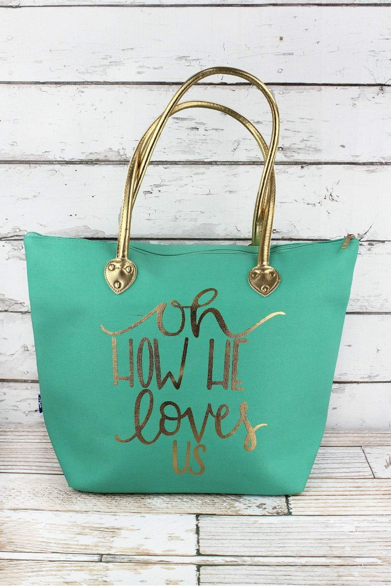 NGIL Metallic Gold 'Oh How He Loves Us' Mint Shoulder Tote