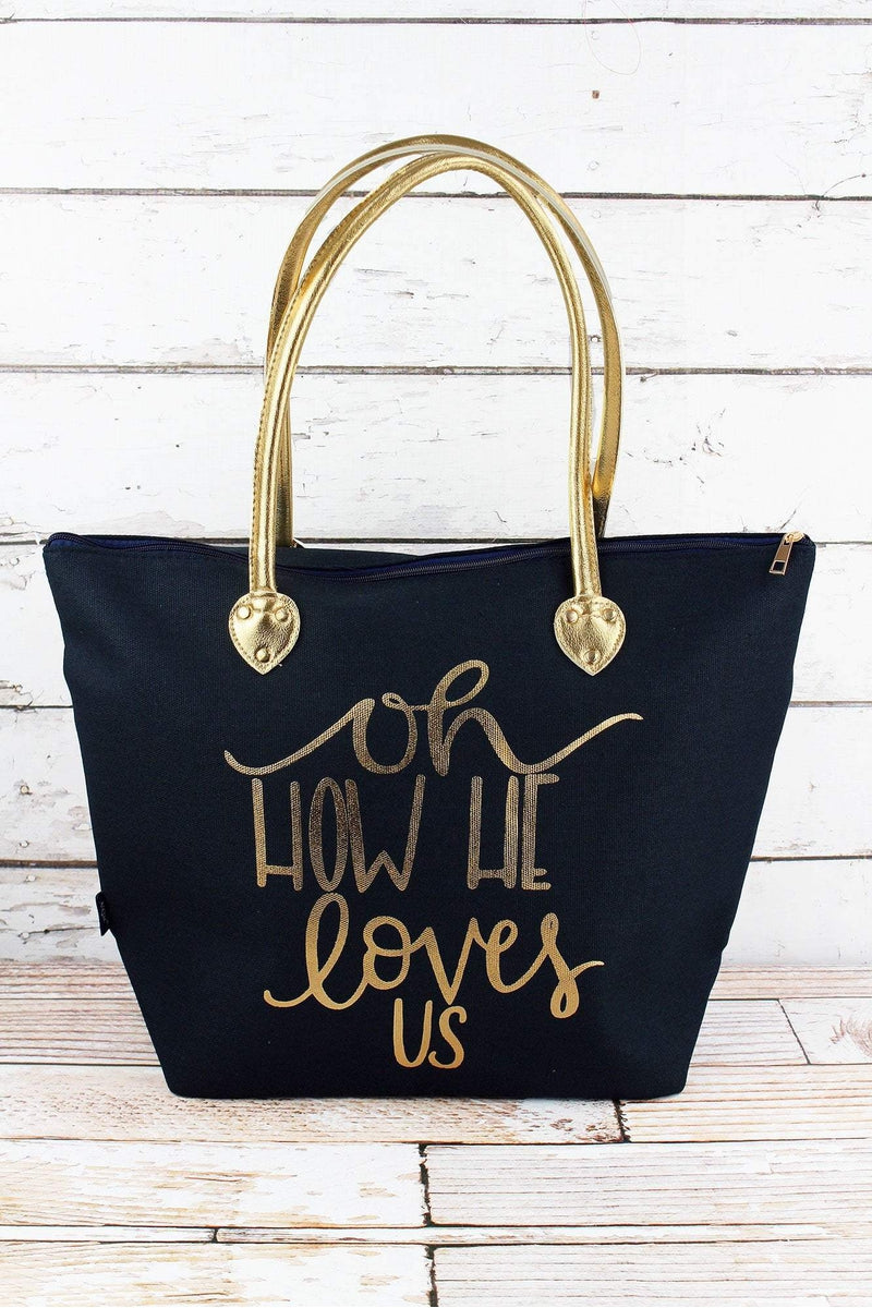 NGIL Metallic Gold 'Oh How He Loves Us' Navy Shoulder Tote