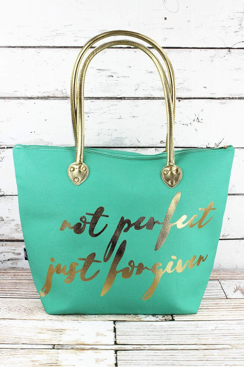 NGIL Metallic Gold 'Not Perfect Just Forgiven' Mint Shoulder Tote
