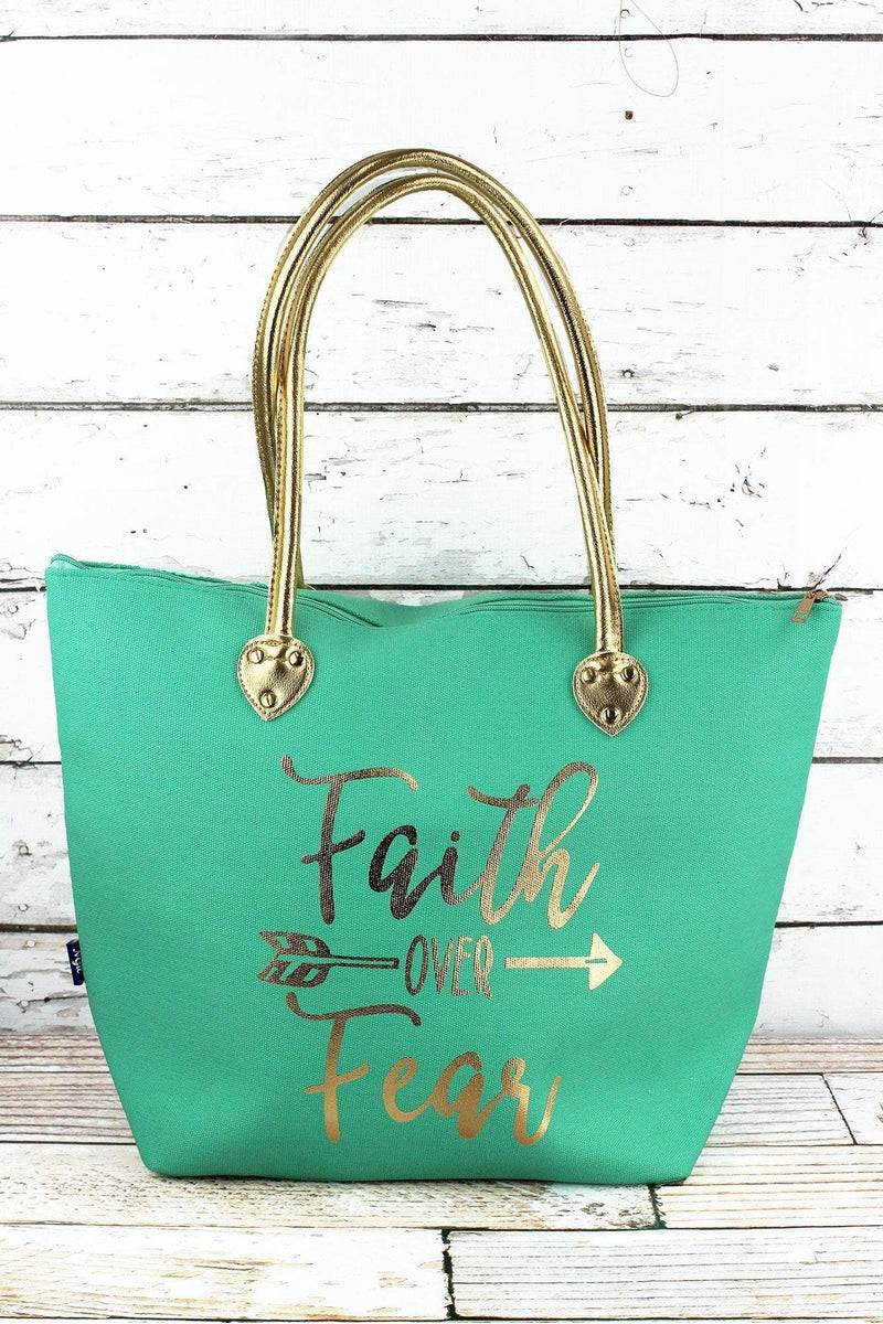 NGIL Metallic Gold 'Faith Over Fear' Mint Shoulder Tote