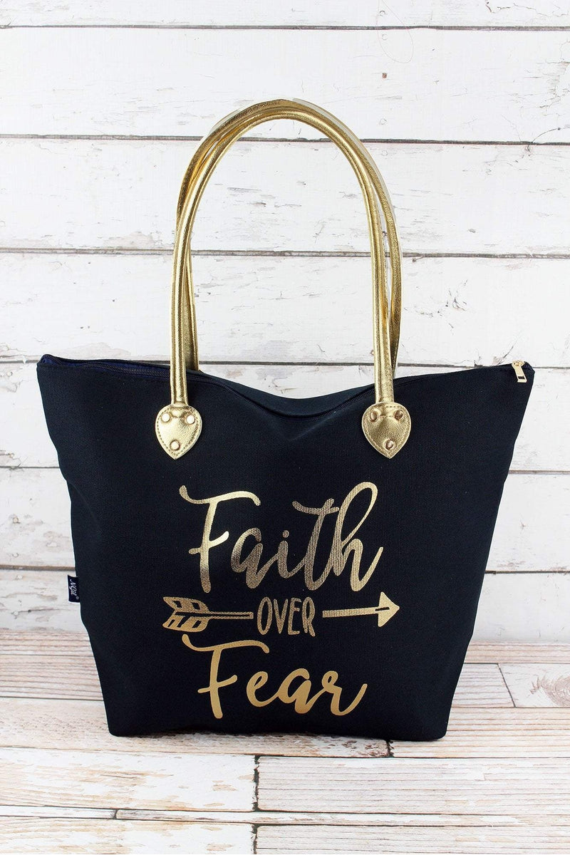 NGIL Metallic Gold 'Faith Over Fear' Navy Shoulder Tote