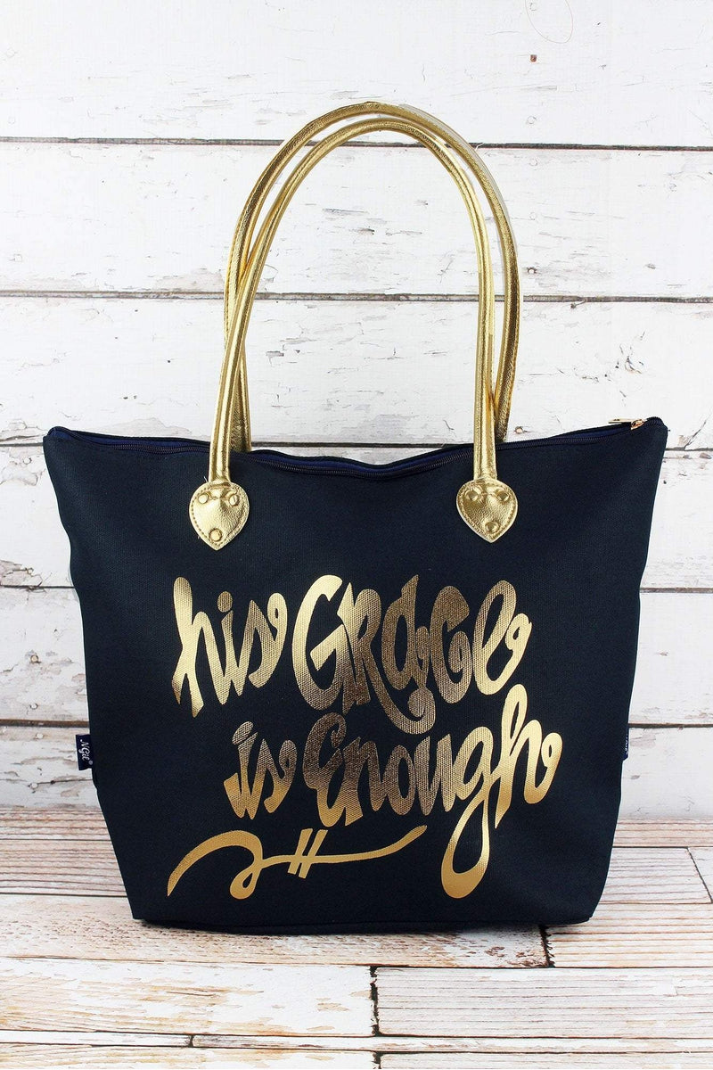 NGIL Metallic Gold 'His Grace Is Enough' Navy Shoulder Tote