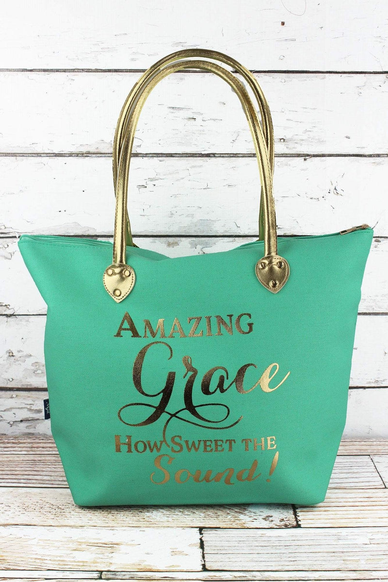 NGIL Metallic Gold 'Amazing Grace' Mint Shoulder Tote