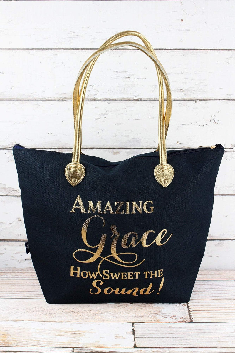 NGIL Metallic Gold 'Amazing Grace' Navy Shoulder Tote