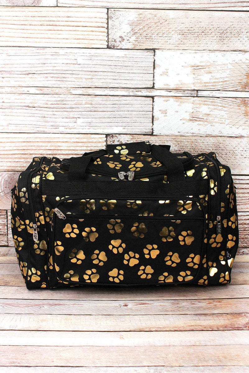 Metallic Gold Puppy Prints Black Duffle Bag 20""