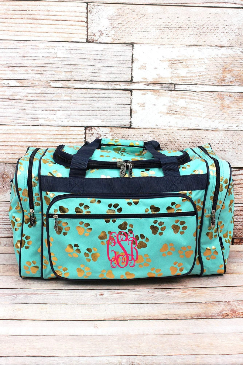 Metallic Gold Puppy Prints Mint Duffle Bag 20""
