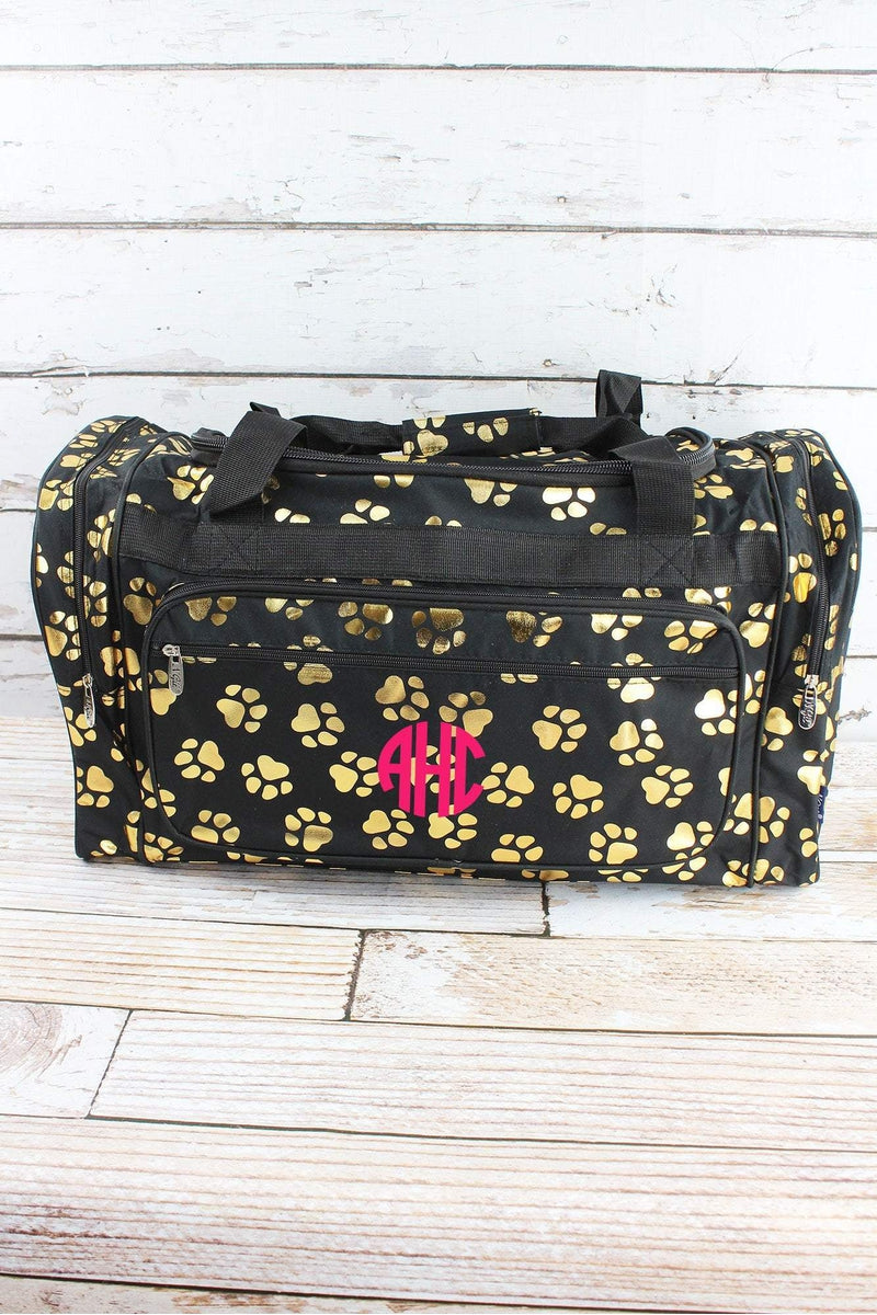 NGIL Metallic Gold Puppy Prints Black Duffle Bag 23""