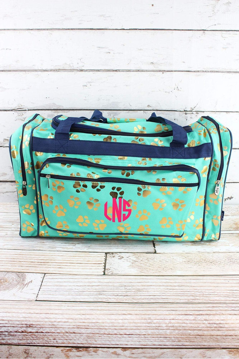 NGIL Metallic Gold Puppy Prints Mint Duffle Bag 23""