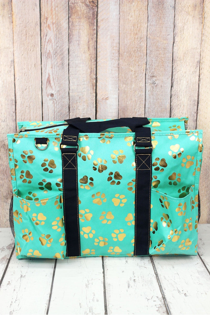 NGIL Metallic Gold Puppy Prints Mint Utility Tote