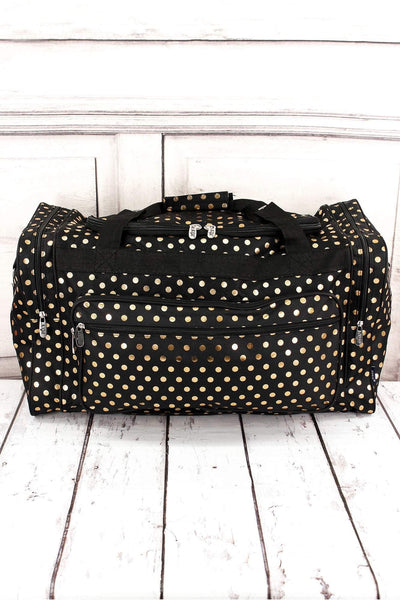 NGIL Metallic Gold Polka Dot Black Duffle Bag 23""