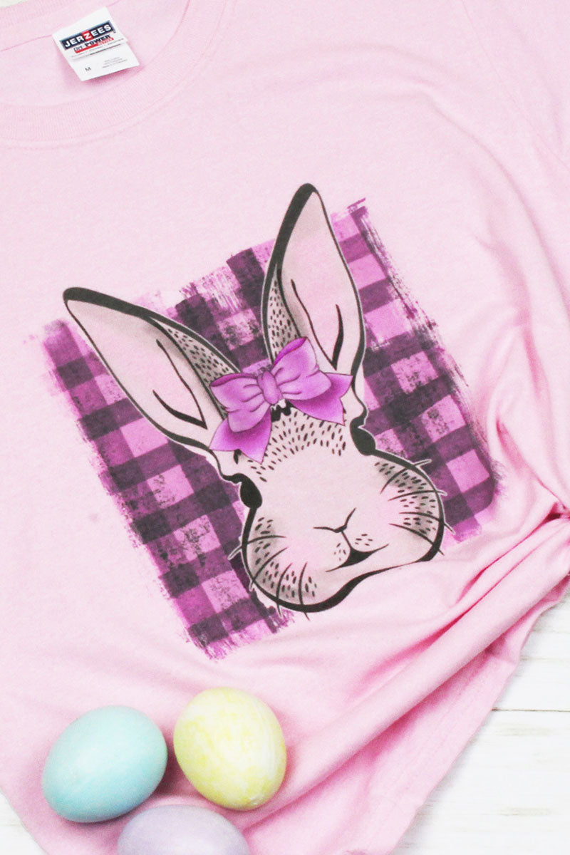 Girl Bunny Plaid Dri-Power Youth 50/50 T-Shirt