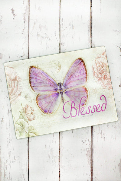 Jeremiah 17:7 'Blessed' Botanic Butterfly Blessings Large Glass Cutting Board #GLC002