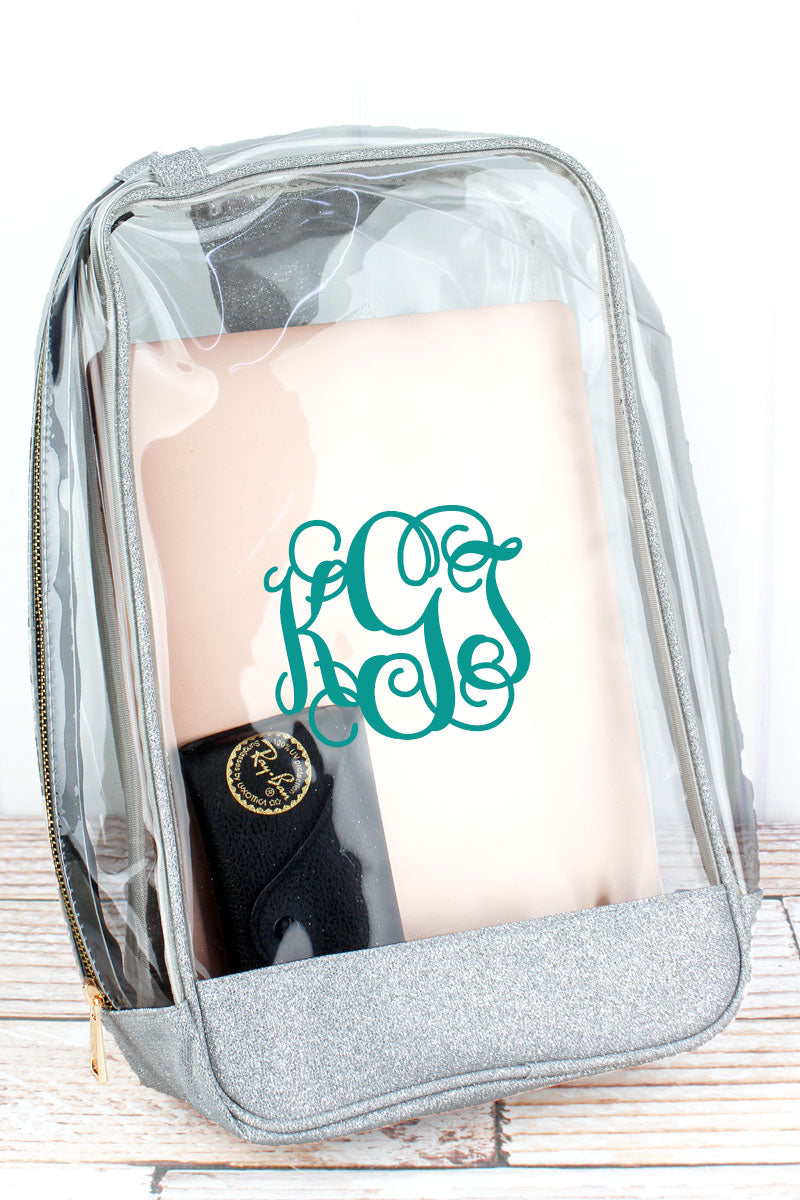 NGIL Clear Sling Backpack with Silver Glitz & Glam Trim