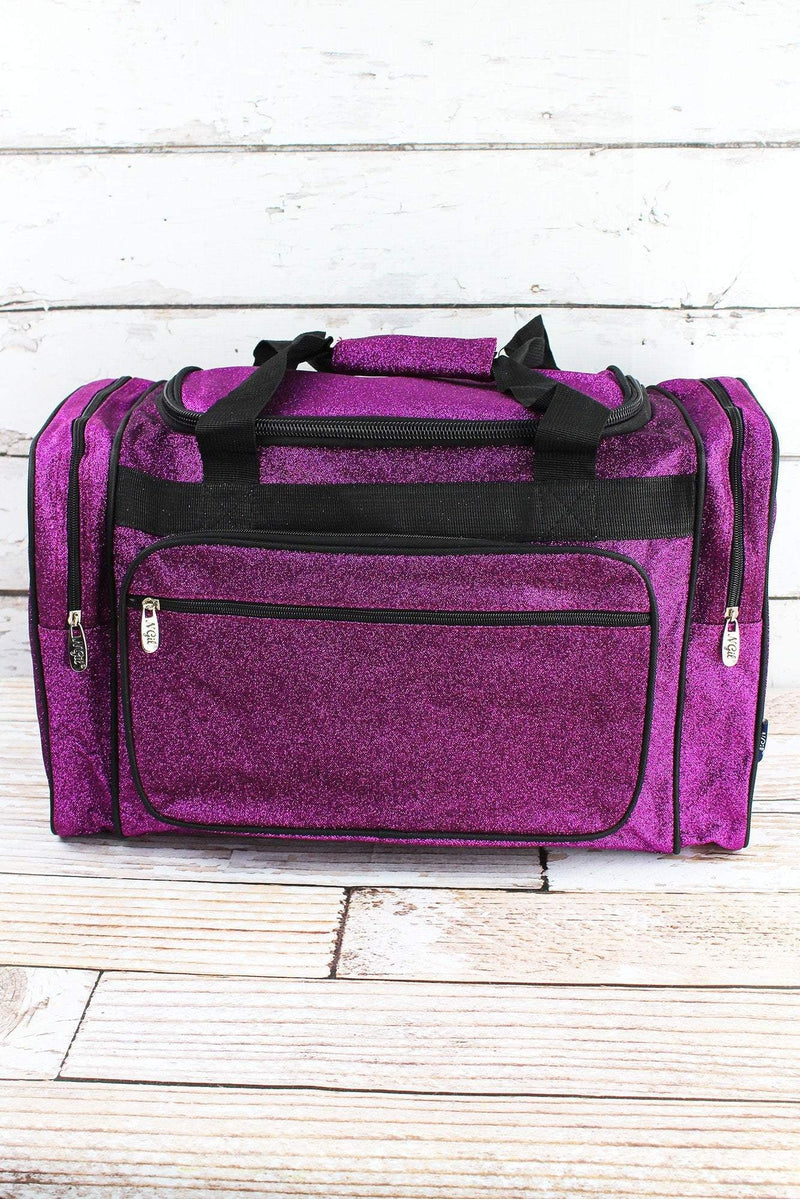 NGIL Purple Glitz & Glam Duffle Bag with Navy Trim 20""