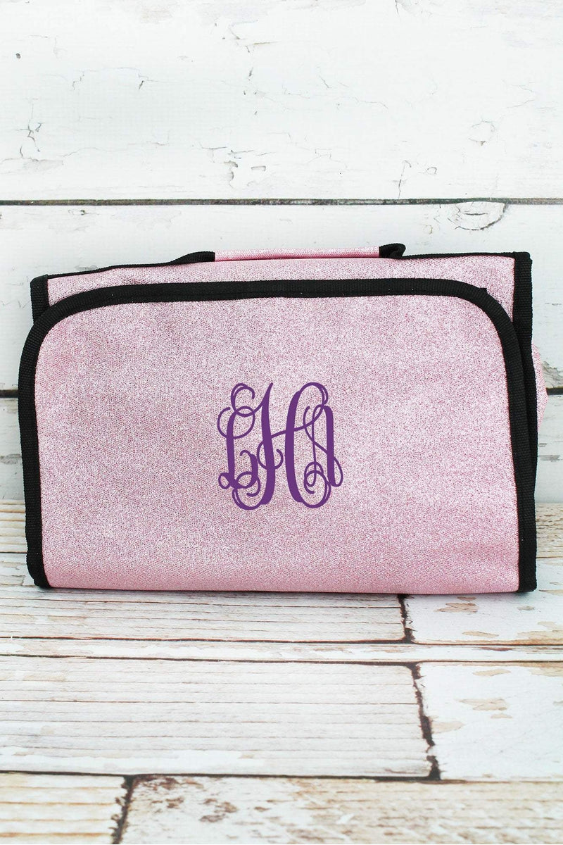 NGIL Pink Glitz & Glam Roll Up Cosmetic Bag