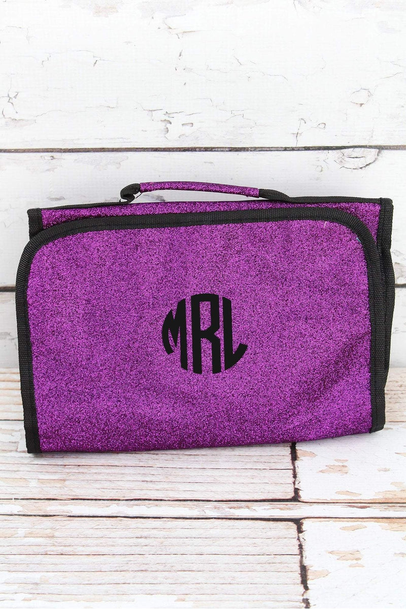 NGIL Purple Glitz & Glam Roll Up Cosmetic Bag