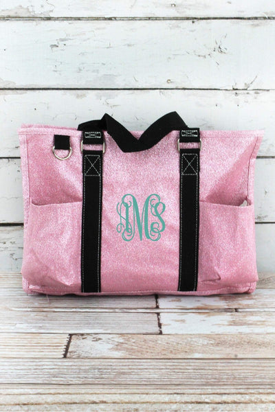 NGIL Pink Glitz & Glam Utility Tote with Black Trim