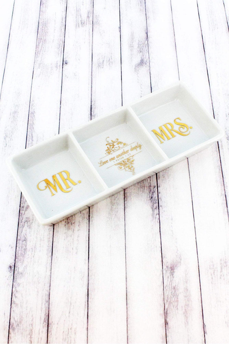 Mr. and Mrs. 'Love One Another Deeply' Porcelain Trinket Tray