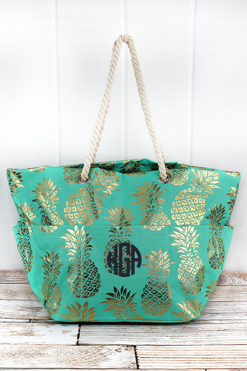 NGIL Metallic Gold Pineapple Paradise Mint Rope Handle Beach Tote