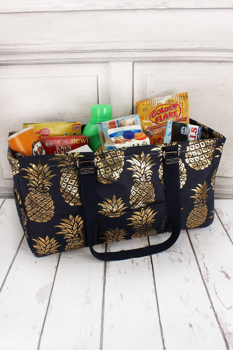 Metallic Gold Pineapple Paradise Navy Collapsible Haul-It-All Basket with Mesh Pockets #GNPL603-NAVY
