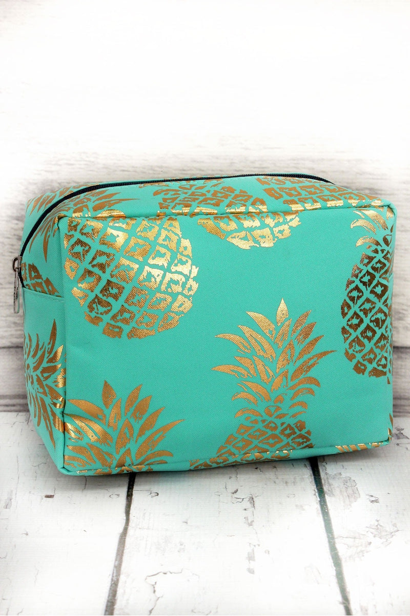 Metallic Gold Pineapple Paradise Mint Cosmetic Case #GNPL613-MINT