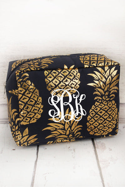 Metallic Gold Pineapple Paradise Navy Cosmetic Case #GNPL613-NAVY