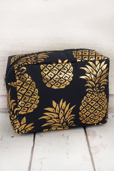 NGIL Metallic Gold Pineapple Paradise Navy Cosmetic Case