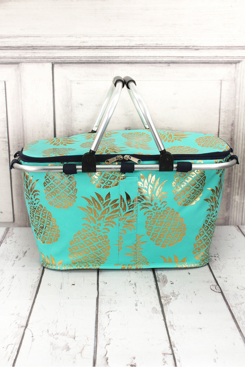Metallic Gold Pineapple Paradise Mint Collapsible Insulated Market Basket  with Lid 0bc964c15f7b5